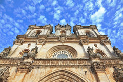 The facade of Roman Catholic convent. The facade of beautifully preserved Roman Catholic convent. Portugal, Alkobasa Royalty Free Stock Photography