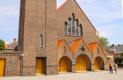 Facade of roman catholic St. Agatha church (St. Agathakerk) Royalty Free Stock Photo