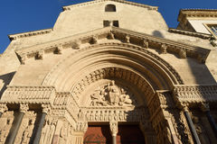 Facade of Romanesque Cathedrale Saint-Trophime Stock Photography
