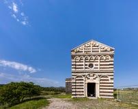 Facade of the Romanesque Church San Pietro di Simbranos, Province Sassari, Bulzi, Sardinia, Italy royalty free stock image