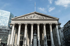 Facade of The Royal Exchange, Bank Royalty Free Stock Images