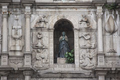 Facade of ruined church of St Paul. Macau. China with detail Royalty Free Stock Photos