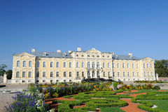 Facade of the Rundale palace. Main facade of the Rundale palace in the baroco style Stock Image