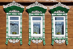 Facade Russian house with carved architraves Stock Image
