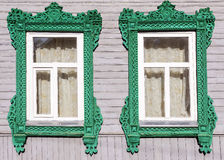 Facade Russian house with carved architraves Royalty Free Stock Photo