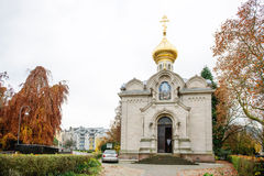 Facade of the Russian Orthodox Church in city of Baden-Bade Stock Image