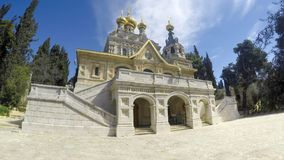 The facade of the Russian Orthodox Church of Mary Magdalene. Located on the Mount of Olives, Jerusalem, Israel royalty free stock image