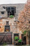 Facade of rustic farmhouse in Alsace Royalty Free Stock Photos
