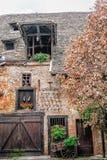 Facade of rustic farmhouse in Alsace Royalty Free Stock Photos