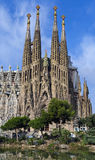Facade Sagrada Familia Barcelona Spain. Belongs to the work of Gaud�, without cranes Royalty Free Stock Photo
