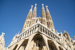 The Facade of the Sagrada Familia, the most iconic landmark in Barcelona. The Nativity Facade of the Sagrada Familia, the most iconic landmark designed by Antoni royalty free stock photography