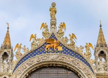 Facade of Saint Mark`s Basilica on Saint Mark`s square in Venice Stock Image