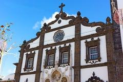 Facade of Saint Sebastian church in Ponta Delgada, Azores, Portugal. Royalty Free Stock Images