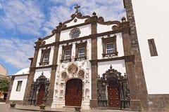 Facade of the Saint Sebastian Igreja Matriz de Sao Sebastiao in Ponta Delgada, Sao Miguel, Azores, Portugal. Royalty Free Stock Photos