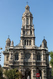 Facade of Sainte Trinite church in Paris. Royalty Free Stock Images