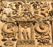 Facade of Salamanca University. Bas relief of Eve at the Plateresque facade of the University of Salamanca, Spain Royalty Free Stock Photo