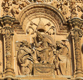 Facade of Salamanca University - Pope and two Cardinals. Bas relief of the Pope and Two Cardinals on the Plateresque facade of the University of Salamanca, Spain Stock Photo