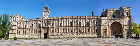 Facade of San Marcos monastery in Leon Stock Photo