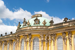 Facade of Sanssouci castle in Potsdam, Germany Royalty Free Stock Images