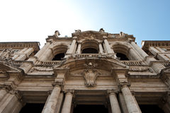Facade of Santa Maria Maggiore. Detail of the baroque facade of the Santa Maria Maggiore church in Rome, Italy stock images