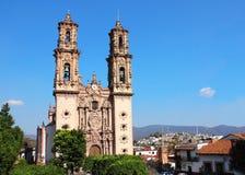 Facade of Santa Prisca Parish Church, Taxco de Alarcon city, Mex. Facade of Santa Prisca Parish Church, Taxco de Alarcon city, state of Guerrero, Mexico Stock Image