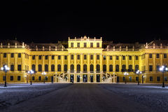 Facade of Schonbrunn Palace at dark winter night Royalty Free Stock Photos