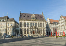 Facade of the schuetting, a former guild house in Bremen royalty free stock photo