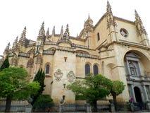 The facade of Segovia Cathedral, Castile-Leon, Spain royalty free stock photos