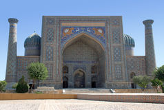 Facade of Sher Dor in Samarkand royalty free stock images