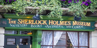 Facade of the Sherlock Holmes house and museum in 221b Baker Street. Royalty Free Stock Photography