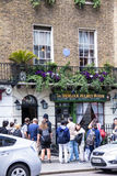 Facade of the Sherlock Holmes house and museum in 221b Baker Street. Royalty Free Stock Photo