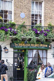 Facade of the Sherlock Holmes house and museum in 221b Baker Street. Royalty Free Stock Images