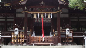 Facade of shinto shrine. Traditional facade of japanese shinto temple in Kyoto (Okazaki shrine Royalty Free Stock Photo