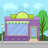 Facade of shop building with showcase window, city summer landscape vector illustration. In cartoon style Stock Photo