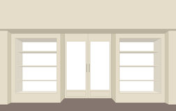 Facade shop. Empty storefront. Building for store. Showcases she Royalty Free Stock Image