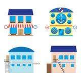 Facade of shop, sea food store and warehouses. Stock Photos