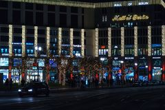 Facade of the shopping center `Mall of Berlin` at Leipziger Platz. BERLIN - DECEMBER 18, 2017: Facade of the shopping center `Mall of Berlin` at Leipziger Platz Stock Image