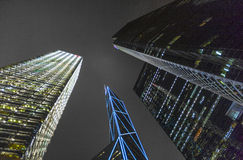 Facade of skyscrapers  by night Stock Photography