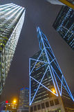 Facade of skyscrapers  by night Royalty Free Stock Image