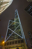 Facade of skyscrapers  by night Royalty Free Stock Photos