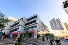 Facade of SM Aura Premier, Shopping mall in Taguig, Philippines. Manila, Philippines - Feb 24, 2018 : Facade of SM Aura Premier, Shopping mall in Taguig stock photography