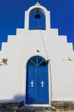 Facade of a small church in Antiparos island, Cyclades Royalty Free Stock Images