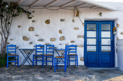 Facade of a small traditional tavern in Ano Koufonisi, Cyclades, Greece Stock Photography