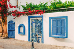 Facade of a small white house in Halkidiki, Greece Stock Photography