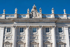 Facade of the Spanish royal palace in Madrid. Stock Photography