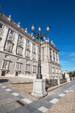Facade of the Spanish royal palace in Madrid. Royalty Free Stock Image