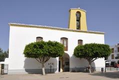 Facade of St Gertrudis de Fruitera church. In a village at the center of Ibiza island Stock Photography