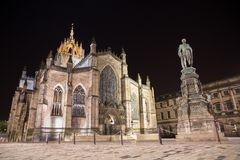 Facade of St Giles Cathedral  by night Stock Photography
