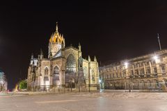 Facade of St Giles Cathedral  by night Royalty Free Stock Photography