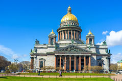 The facade of St Isaac's Cathedral in St Petersburg Stock Images